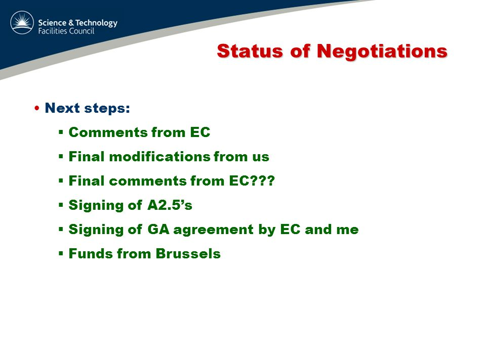 Status of Negotiations Status of Negotiations Next steps:  Comments from EC  Final modifications from us  Final comments from EC .