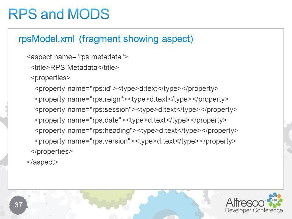 37 RPS Metadata d:text rpsModel.xml (fragment showing aspect)
