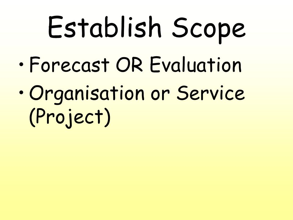Establish Scope Forecast OR Evaluation Organisation or Service (Project)