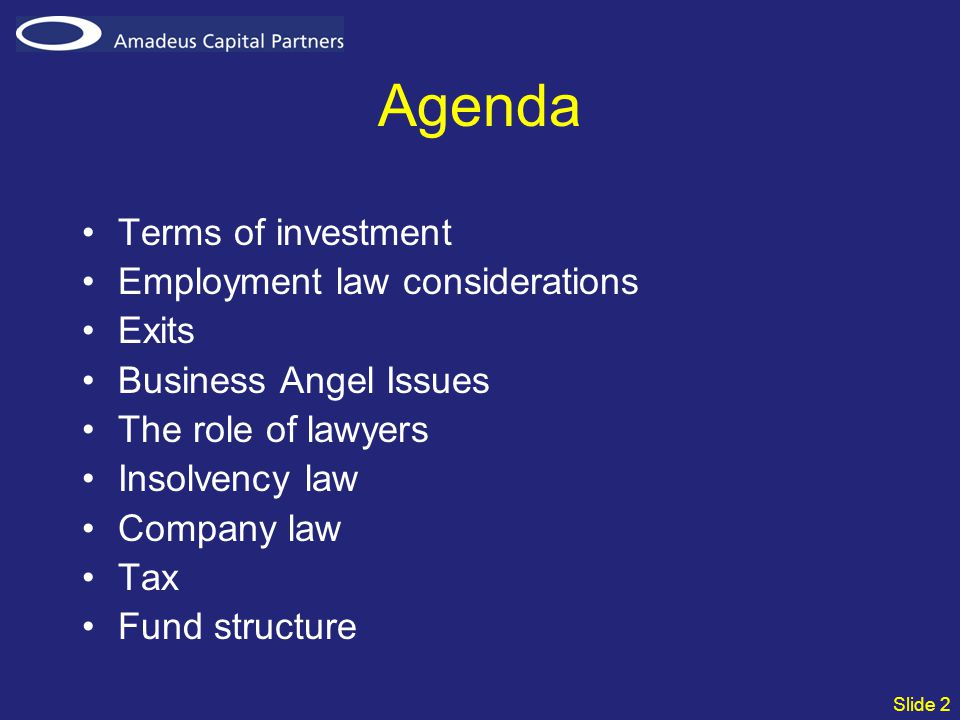Slide 2 Agenda Terms of investment Employment law considerations Exits Business Angel Issues The role of lawyers Insolvency law Company law Tax Fund structure