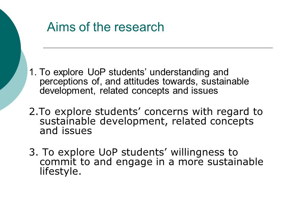 Aims of the research 1.