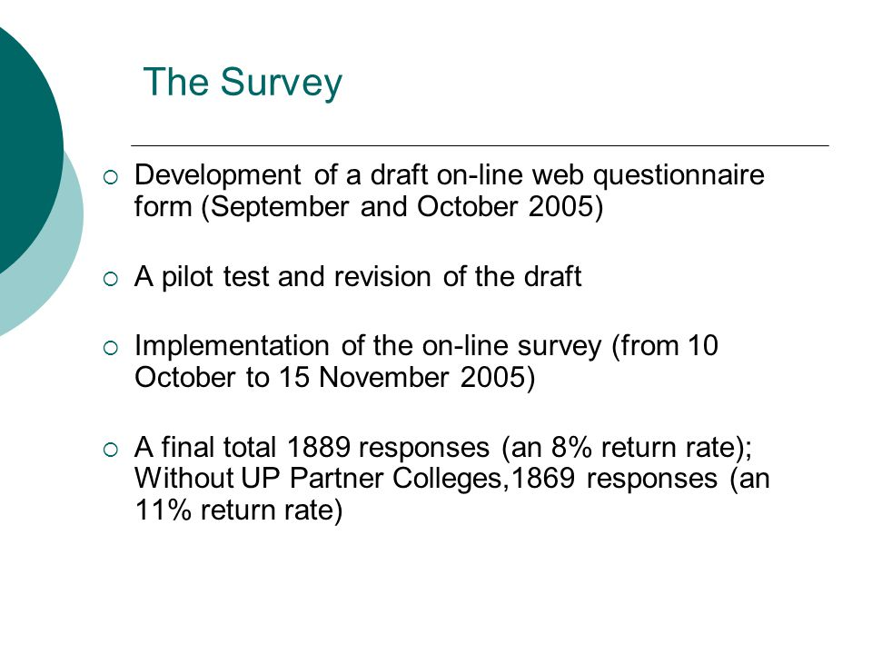 The Survey  Development of a draft on-line web questionnaire form (September and October 2005)  A pilot test and revision of the draft  Implementation of the on-line survey (from 10 October to 15 November 2005)  A final total 1889 responses (an 8% return rate); Without UP Partner Colleges,1869 responses (an 11% return rate)