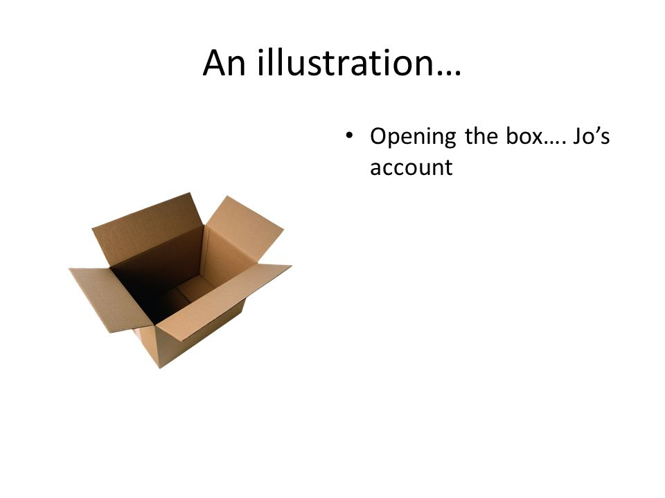 An illustration… Opening the box…. Jo's account