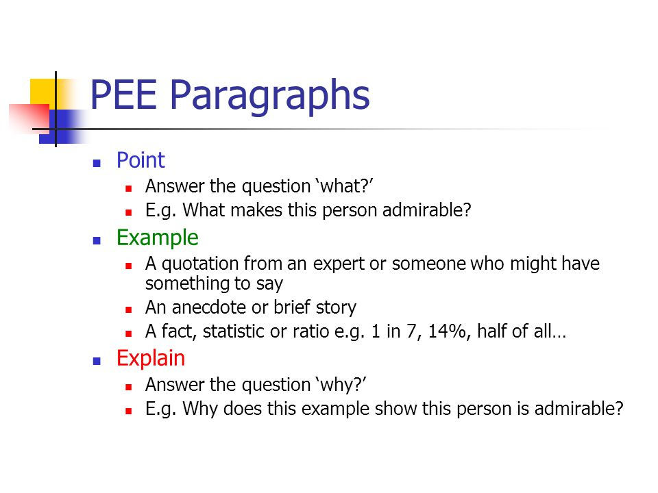 PEE Paragraphs Point Answer the question 'what ' E.g.