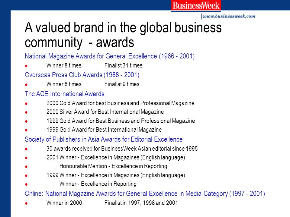 A valued brand in the global business community - awards National Magazine Awards for General Excellence (1966 - 2001) Winner 8 timesFinalist 31 times Overseas Press Club Awards (1988 - 2001) Winner 8 timesFinalist 9 times The ACE International Awards 2000 Gold Award for best Business and Professional Magazine 2000 Silver Award for Best International Magazine 1999 Gold Award for Best Business and Professional Magazine 1999 Gold Award for Best International Magazine Society of Publishers in Asia Awards for Editorial Excellence 30 awards received for BusinessWeek Asian editorial since 1995 2001 Winner - Excellence in Magazines (English language) Honourable Mention - Excellence in Reporting 1999 Winner - Excellence in Magazines (English language) Winner - Excellence in Reporting Online: National Magazine Awards for General Excellence in Media Category (1997 - 2001) Winner in 2000Finalist in 1997, 1998 and 2001