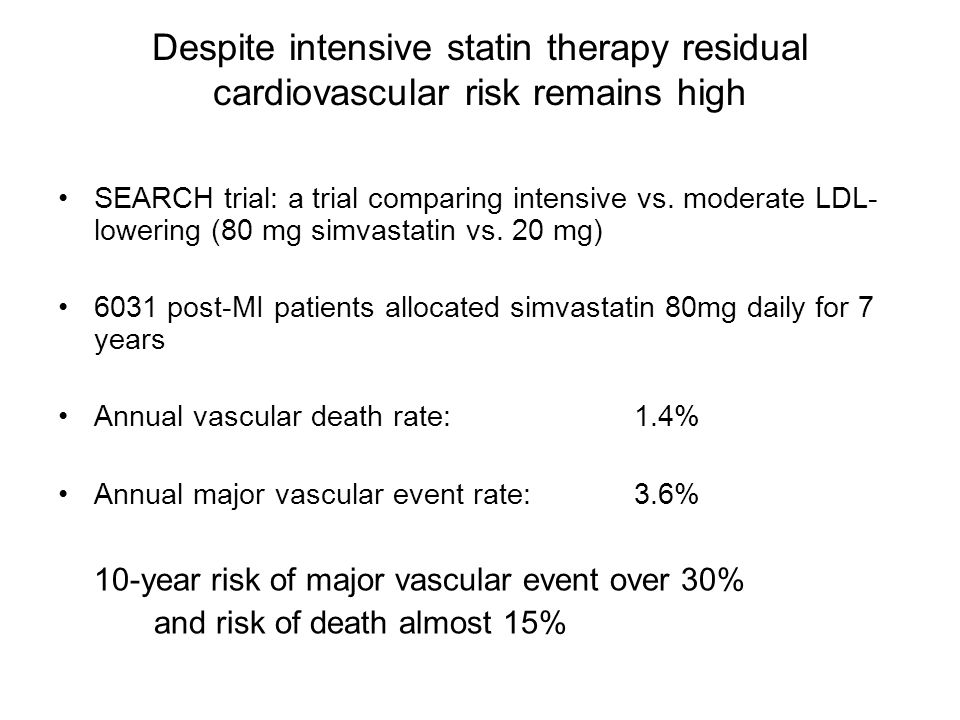 Despite intensive statin therapy residual cardiovascular risk remains high SEARCH trial: a trial comparing intensive vs.