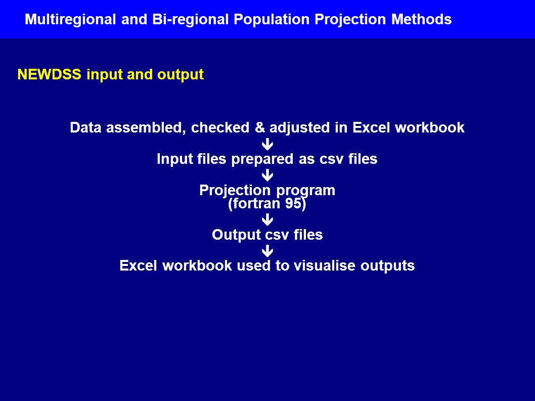 NEWDSS input and output Data assembled, checked & adjusted in Excel workbook  Input files prepared as csv files  Projection program (fortran 95)  Output csv files  Excel workbook used to visualise outputs Multiregional and Bi-regional Population Projection Methods