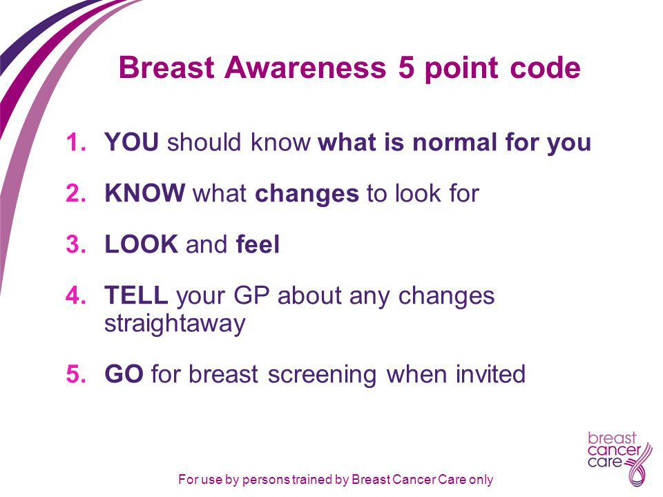 For use by persons trained by Breast Cancer Care only Breast Awareness 5 point code 1.YOU should know what is normal for you 2.KNOW what changes to look for 3.LOOK and feel 4.TELL your GP about any changes straightaway 5.GO for breast screening when invited