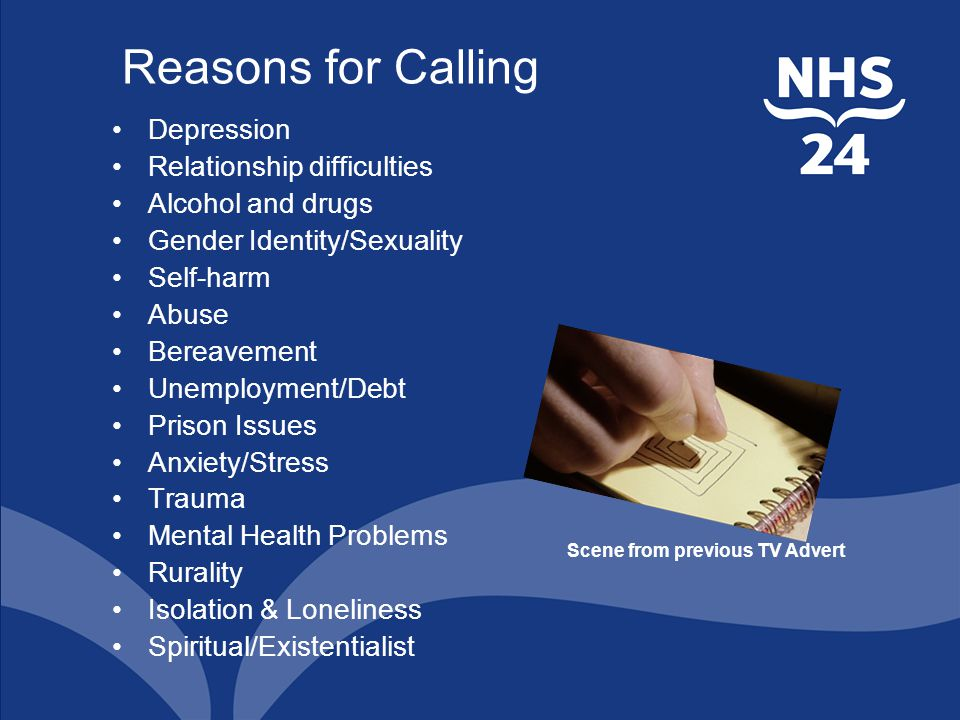 Reasons for Calling Depression Relationship difficulties Alcohol and drugs Gender Identity/Sexuality Self-harm Abuse Bereavement Unemployment/Debt Prison Issues Anxiety/Stress Trauma Mental Health Problems Rurality Isolation & Loneliness Spiritual/Existentialist Scene from previous TV Advert