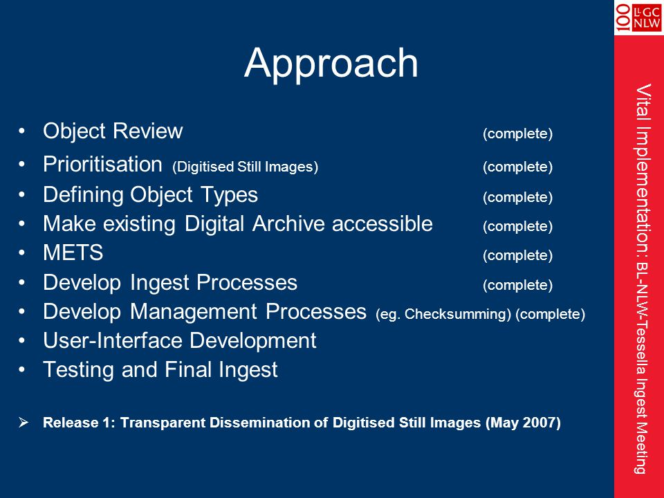 Vital Implementation: BL-NLW-Tessella Ingest Meeting Approach Object Review (complete) Prioritisation (Digitised Still Images)(complete) Defining Object Types (complete) Make existing Digital Archive accessible (complete) METS (complete) Develop Ingest Processes (complete) Develop Management Processes (eg.