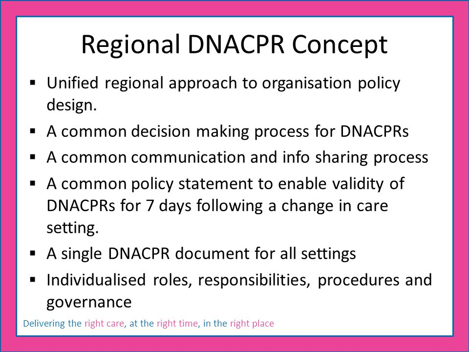 Delivering the right care, at the right time, in the right place Regional DNACPR Concept  Unified regional approach to organisation policy design.