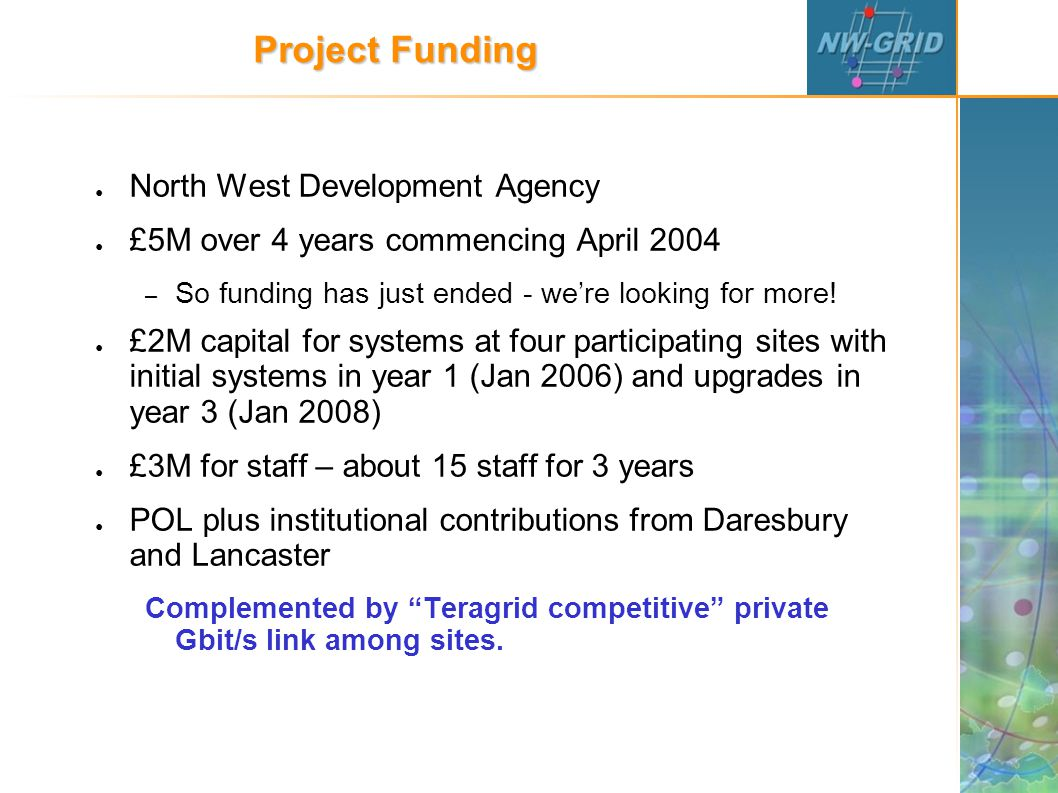 Project Funding ● North West Development Agency ● £5M over 4 years commencing April 2004 – So funding has just ended - we're looking for more.