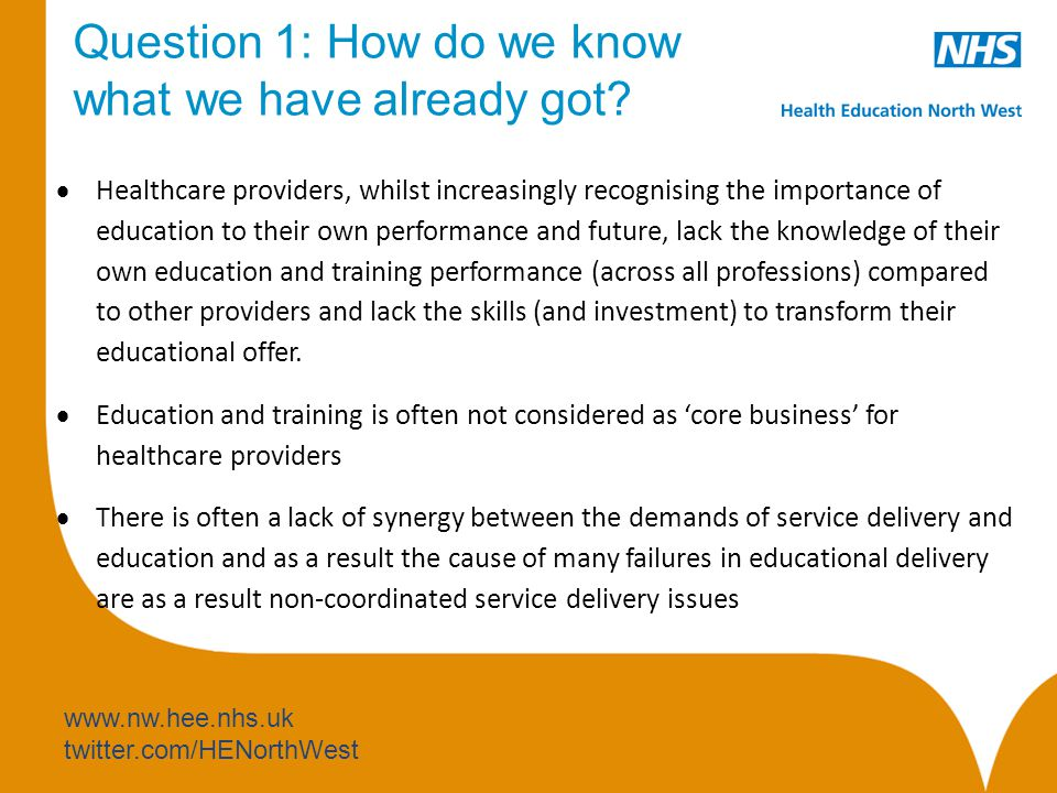 www.nw.hee.nhs.uk twitter.com/HENorthWest Question 1: How do we know what we have already got.