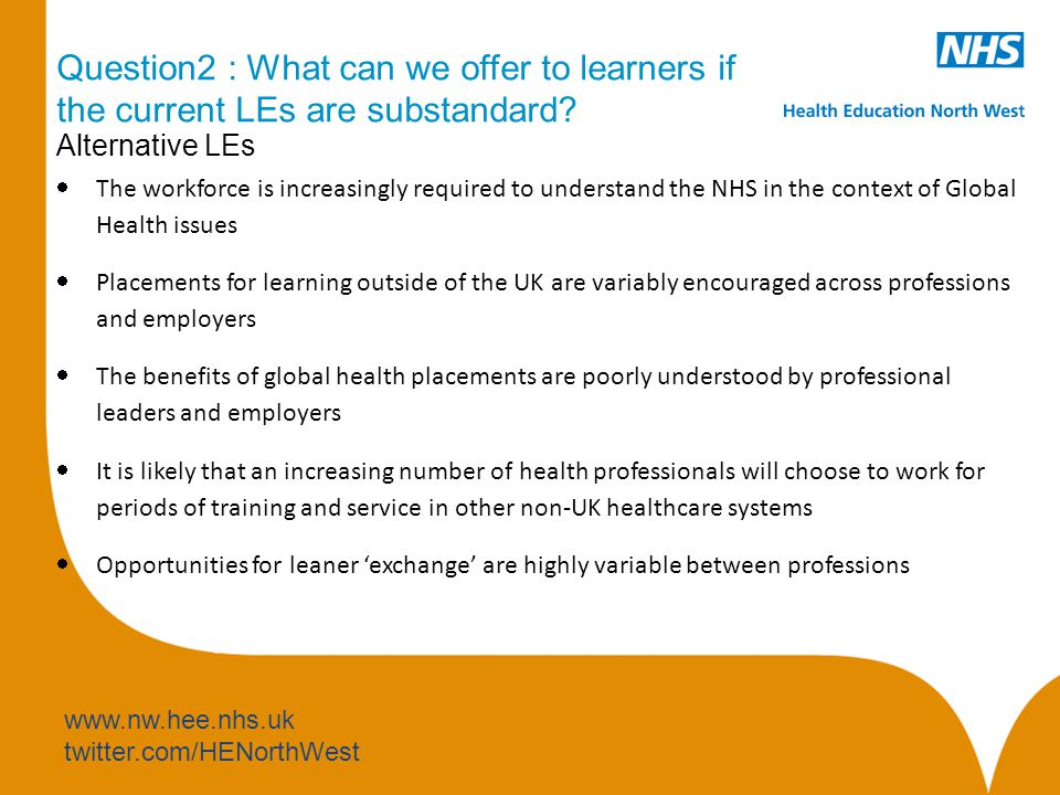 www.nw.hee.nhs.uk twitter.com/HENorthWest Question2 : What can we offer to learners if the current LEs are substandard.