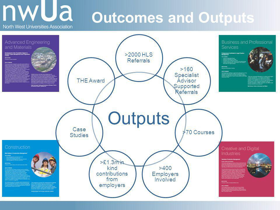 Outcomes and Outputs Outputs >2000 HLS Referrals >160 Specialist Advisor Supported Referrals >70 Courses >400 Employers Involved >£1.3m in kind contributions from employers Case Studies THE Award