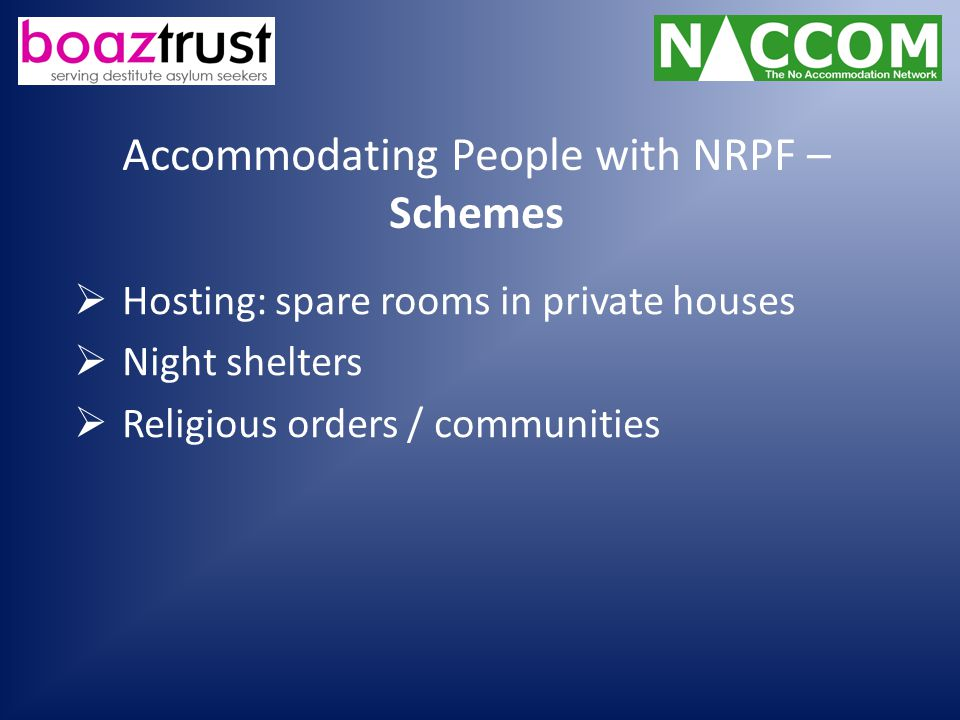Accommodating People with NRPF – Schemes  Hosting: spare rooms in private houses  Night shelters  Religious orders / communities