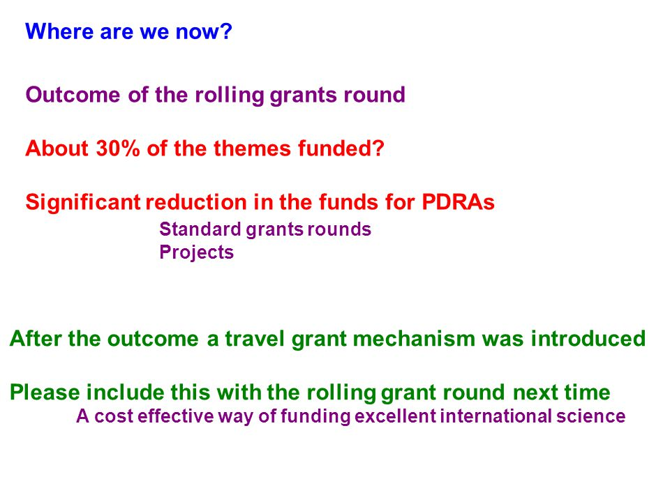 Where are we now. Outcome of the rolling grants round About 30% of the themes funded.