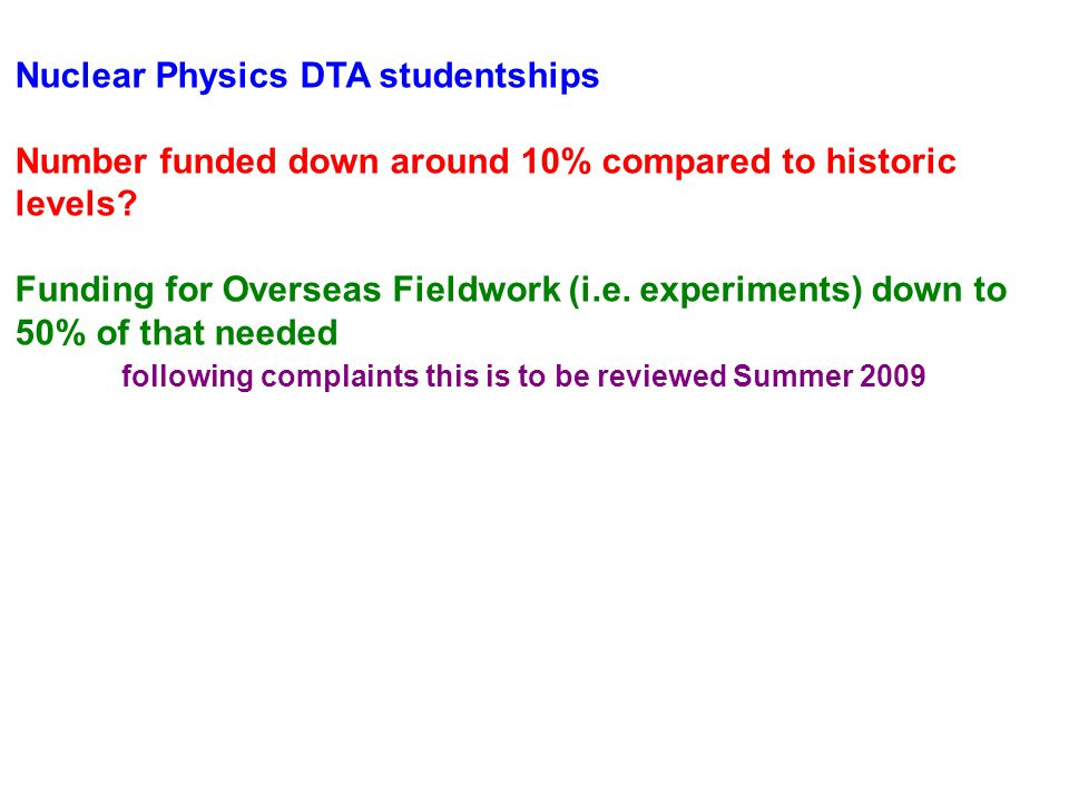Nuclear Physics DTA studentships Number funded down around 10% compared to historic levels.