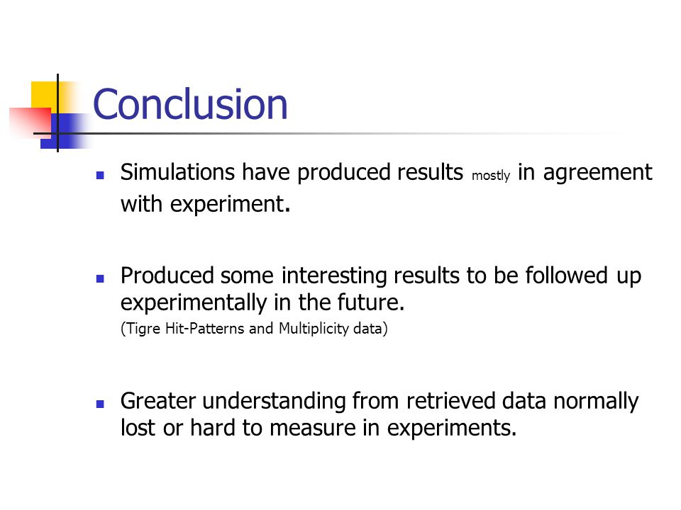 Conclusion Simulations have produced results mostly in agreement with experiment.