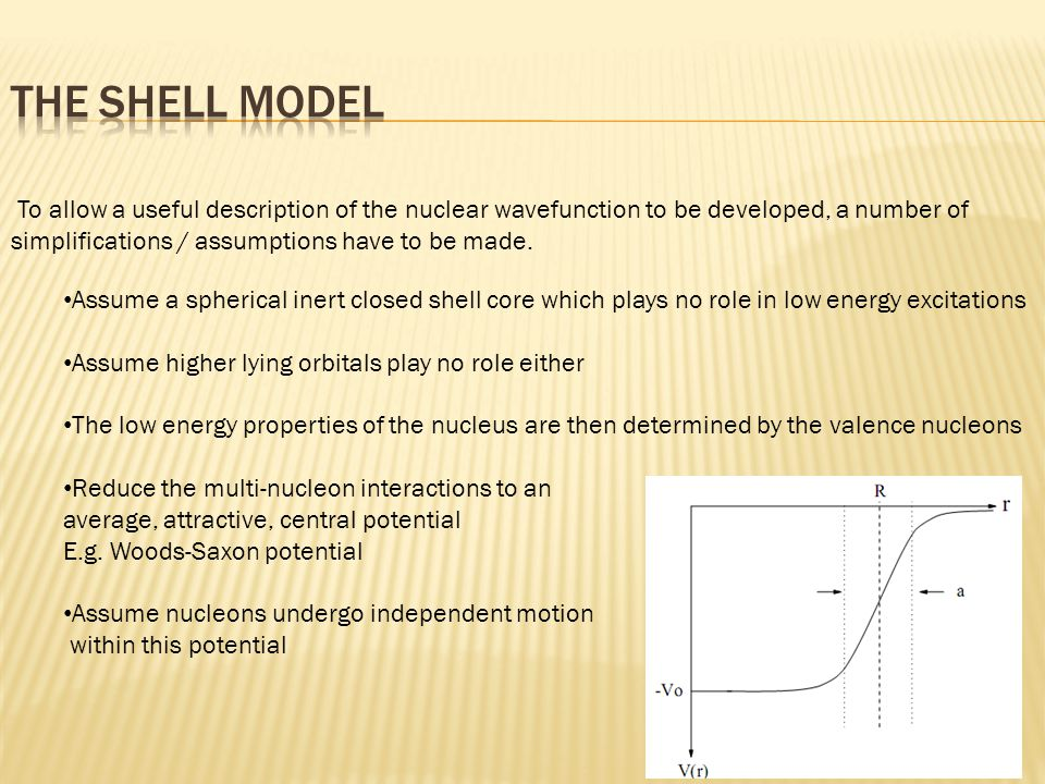 To allow a useful description of the nuclear wavefunction to be developed, a number of simplifications / assumptions have to be made.