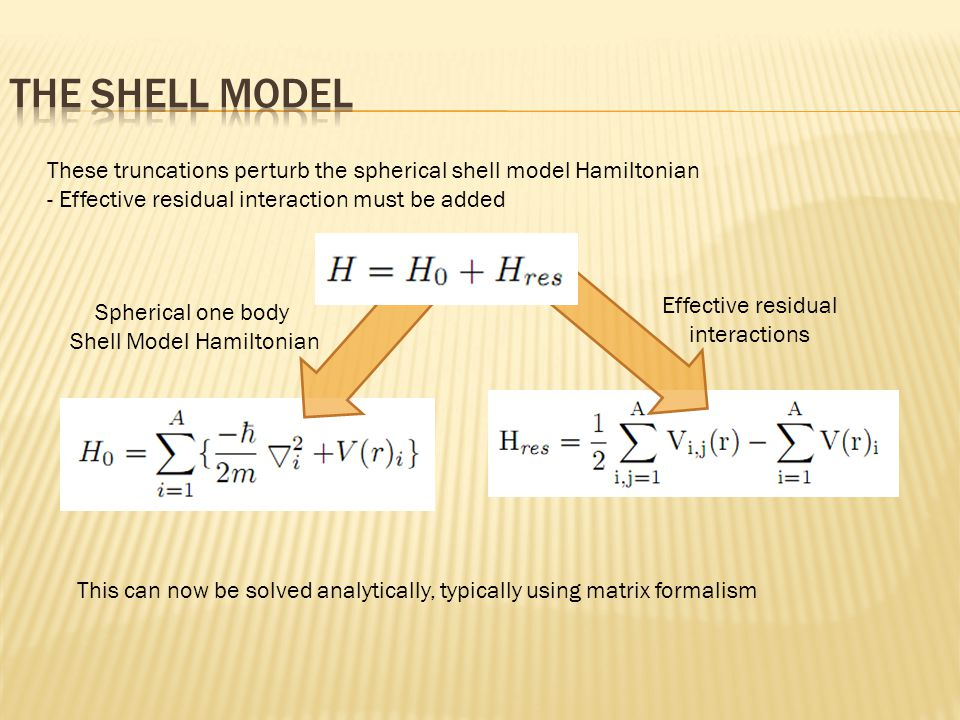 These truncations perturb the spherical shell model Hamiltonian - Effective residual interaction must be added Effective residual interactions Spherical one body Shell Model Hamiltonian This can now be solved analytically, typically using matrix formalism