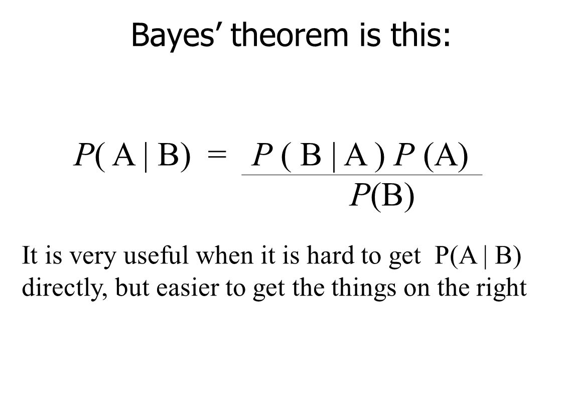 Bayes' theorem is this: P( A | B) = P ( B | A ) P (A) P(B) It is very useful when it is hard to get P(A | B) directly, but easier to get the things on the right