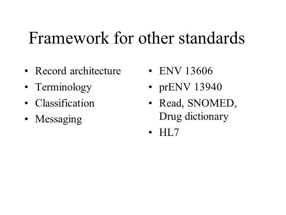 Framework for other standards Record architecture Terminology Classification Messaging ENV 13606 prENV 13940 Read, SNOMED, Drug dictionary HL7