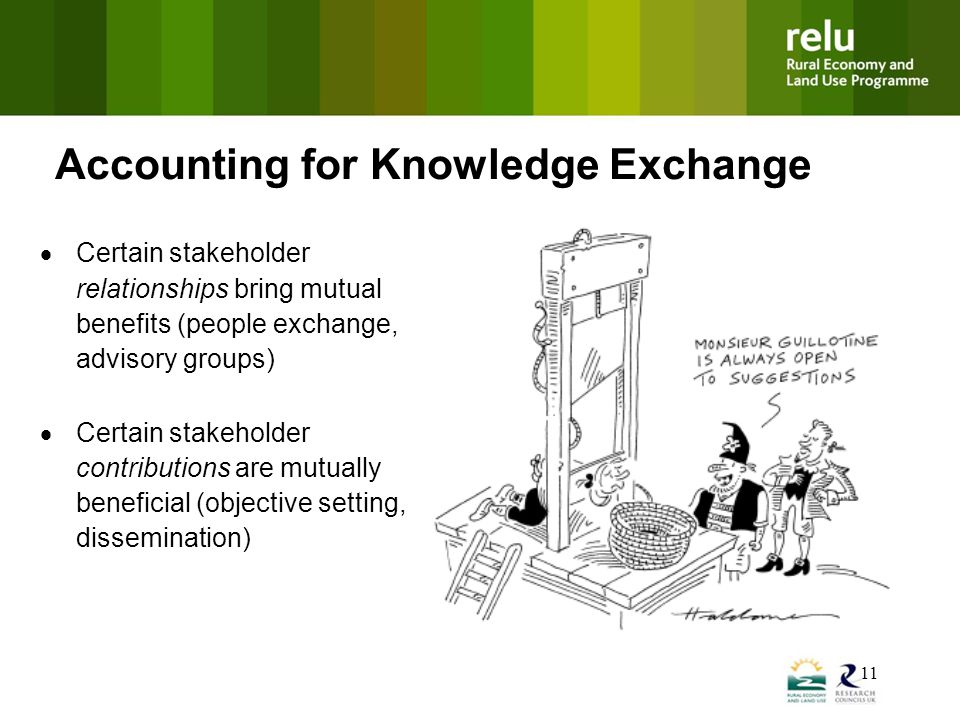 11 Accounting for Knowledge Exchange  Certain stakeholder relationships bring mutual benefits (people exchange, advisory groups)  Certain stakeholder contributions are mutually beneficial (objective setting, dissemination)