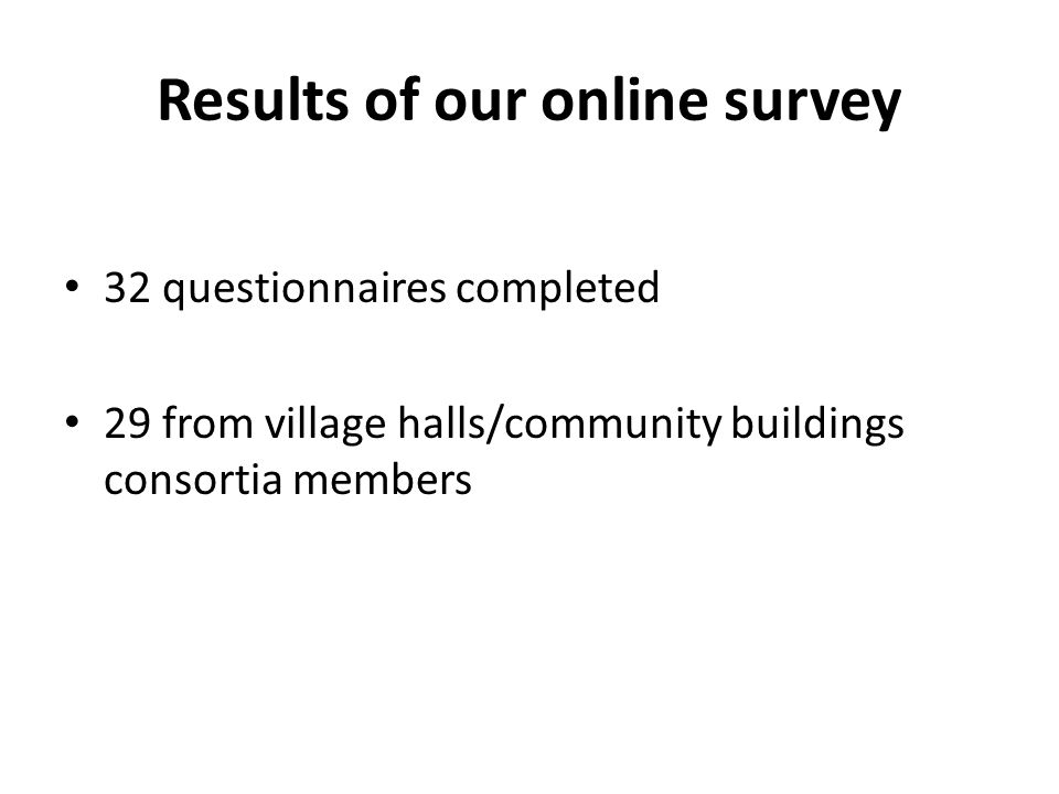 Results of our online survey 32 questionnaires completed 29 from village halls/community buildings consortia members