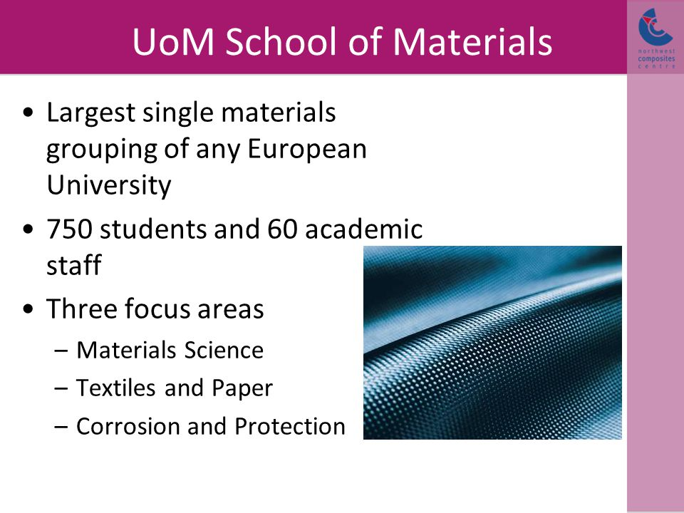UoM School of Materials Largest single materials grouping of any European University 750 students and 60 academic staff Three focus areas –Materials Science –Textiles and Paper –Corrosion and Protection