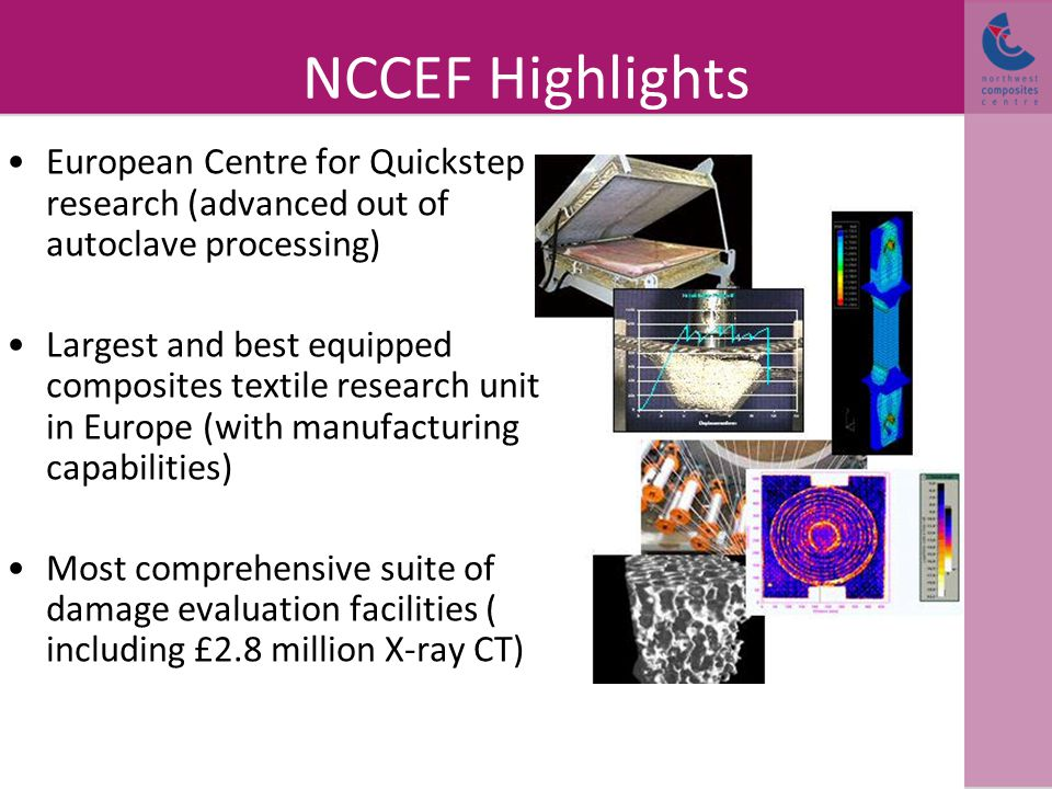 NCCEF Highlights European Centre for Quickstep research (advanced out of autoclave processing) Largest and best equipped composites textile research unit in Europe (with manufacturing capabilities) Most comprehensive suite of damage evaluation facilities ( including £2.8 million X-ray CT)