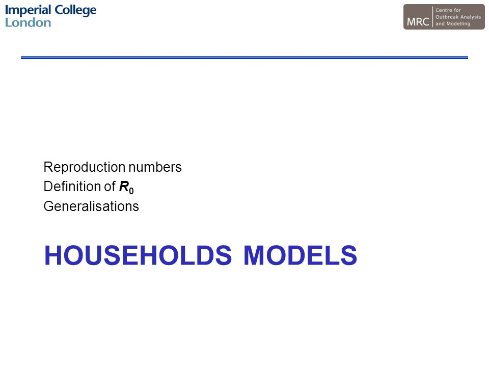 HOUSEHOLDS MODELS Reproduction numbers Definition of R 0 Generalisations