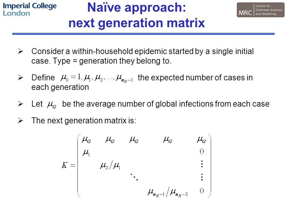 Naïve approach: next generation matrix  Consider a within-household epidemic started by a single initial case.