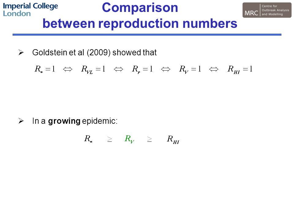 Comparison between reproduction numbers  Goldstein et al (2009) showed that  In a growing epidemic:
