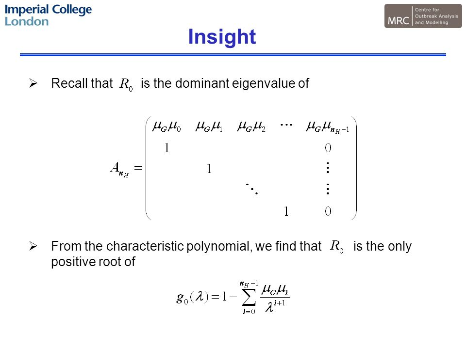 Insight  Recall that is the dominant eigenvalue of  From the characteristic polynomial, we find that is the only positive root of