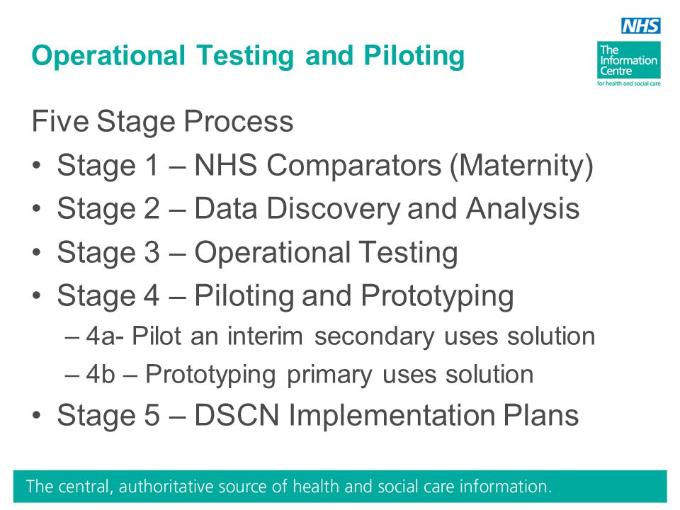 Operational Testing and Piloting Five Stage Process Stage 1 – NHS Comparators (Maternity) Stage 2 – Data Discovery and Analysis Stage 3 – Operational Testing Stage 4 – Piloting and Prototyping –4a- Pilot an interim secondary uses solution –4b – Prototyping primary uses solution Stage 5 – DSCN Implementation Plans