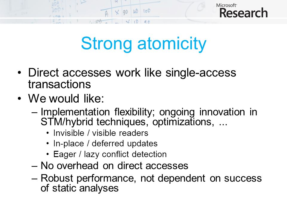 Strong atomicity Direct accesses work like single-access transactions We would like: –Implementation flexibility; ongoing innovation in STM/hybrid techniques, optimizations,...
