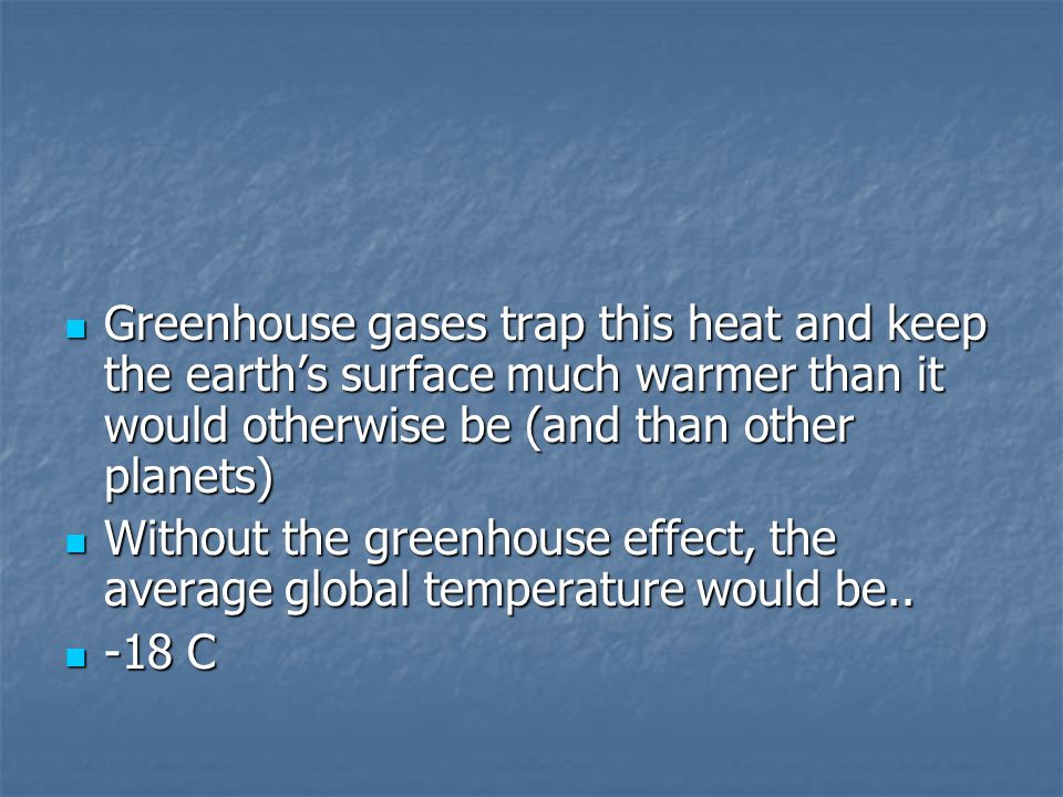 Greenhouse gases trap this heat and keep the earth's surface much warmer than it would otherwise be (and than other planets) Greenhouse gases trap this heat and keep the earth's surface much warmer than it would otherwise be (and than other planets) Without the greenhouse effect, the average global temperature would be..