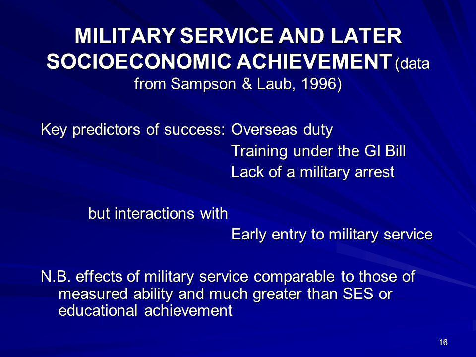 16 MILITARY SERVICE AND LATER SOCIOECONOMIC ACHIEVEMENT (data from Sampson & Laub, 1996) Key predictors of success:Overseas duty Training under the GI Bill Lack of a military arrest but interactions with Early entry to military service N.B.