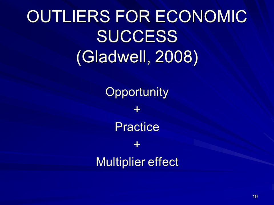 19 OUTLIERS FOR ECONOMIC SUCCESS (Gladwell, 2008) Opportunity+Practice+ Multiplier effect