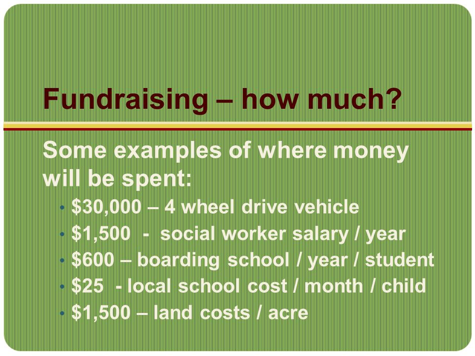Fundraising – how much.