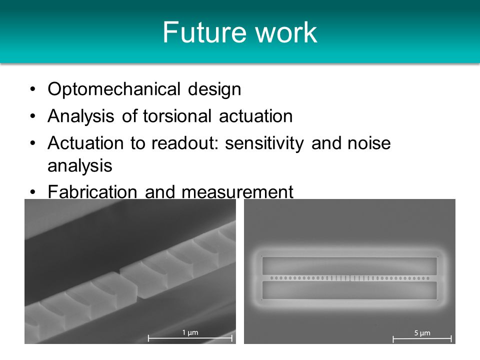 Future work Optomechanical design Analysis of torsional actuation Actuation to readout: sensitivity and noise analysis Fabrication and measurement