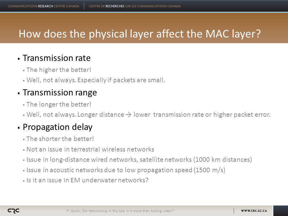 How does the physical layer affect the MAC layer.  Transmission rate  The higher the better.