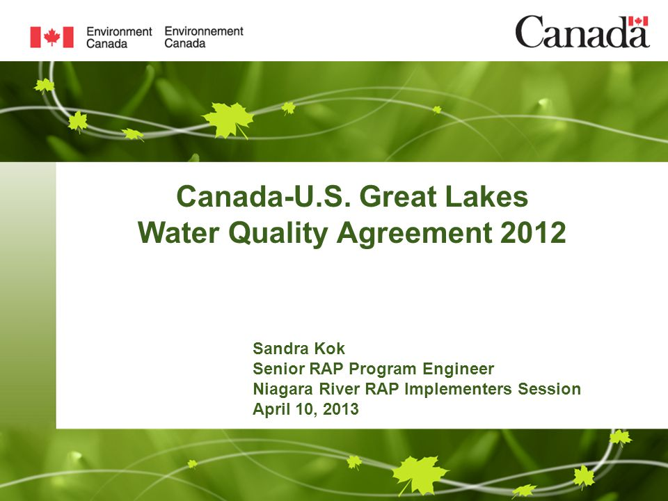 Canada Us Great Lakes Water Quality Agreement 2012 Sandra Kok