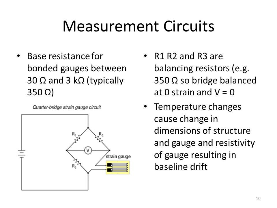 Measurement Circuits Base resistance for bonded gauges between 30 Ω and 3 kΩ (typically 350 Ω) R1 R2 and R3 are balancing resistors (e.g.