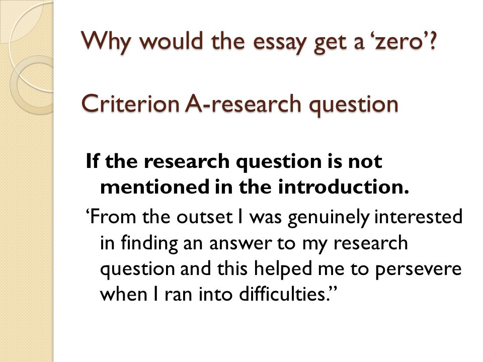 Why would the essay get a 'zero'.