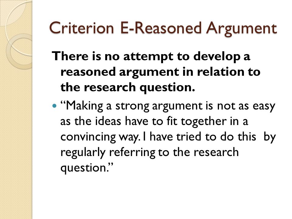 Criterion E-Reasoned Argument There is no attempt to develop a reasoned argument in relation to the research question.