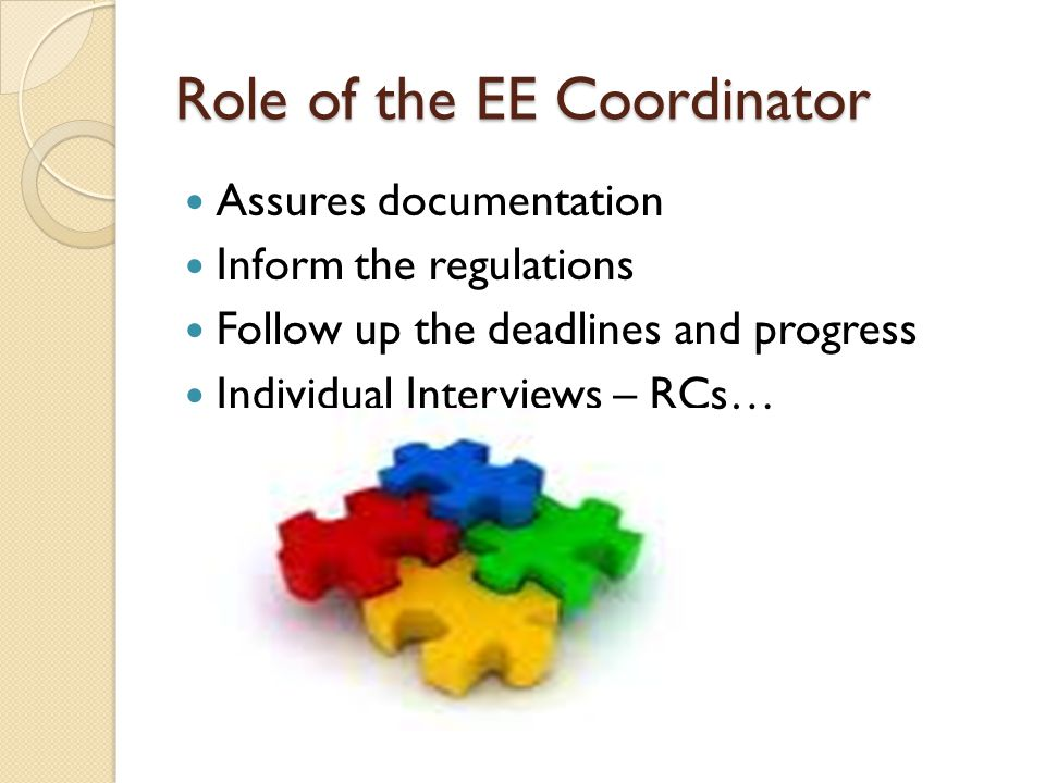 Role of the EE Coordinator Assures documentation Inform the regulations Follow up the deadlines and progress Individual Interviews – RCs…
