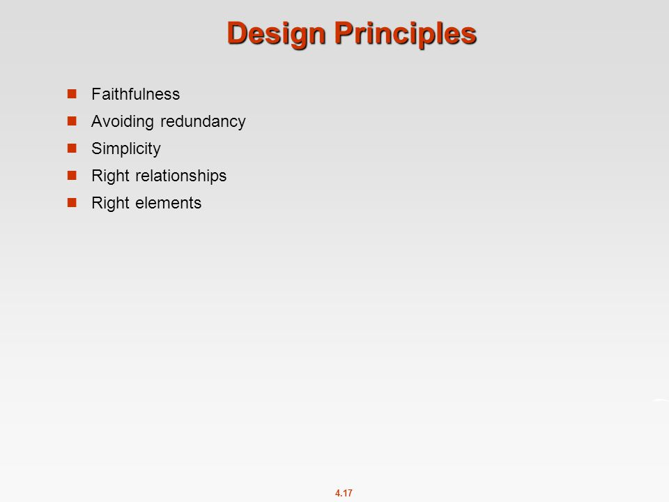 4.17 Design Principles Faithfulness Avoiding redundancy Simplicity Right relationships Right elements