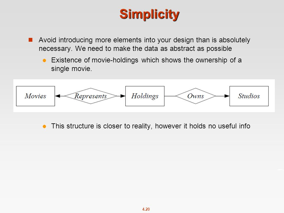 4.20 Simplicity Avoid introducing more elements into your design than is absolutely necessary.